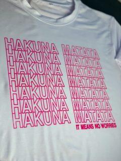 shirt that says hakuna matata made with cricut incredible ink pens