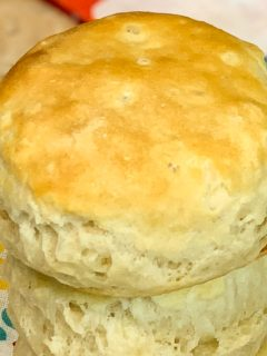 Top side close up of air fryer buttermilk biscuits