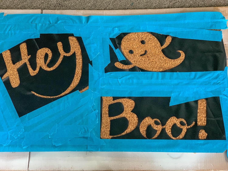 Cricut vinyl in place for doormat