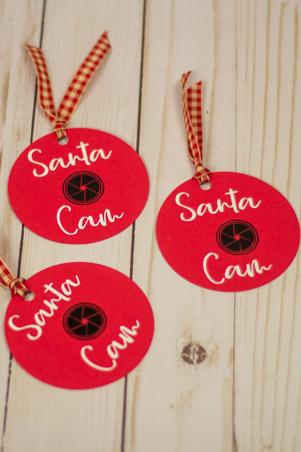 Image of paper DIY paper ornaments in red with santa cam on them in script font.