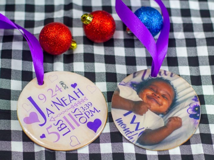 personalized baby ornament made with the cricut maker