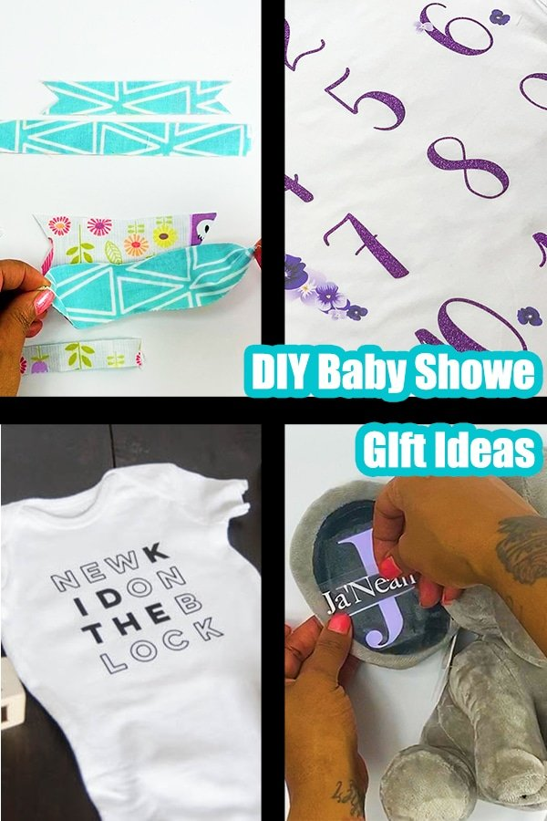 Collage of diy baby shower gifts