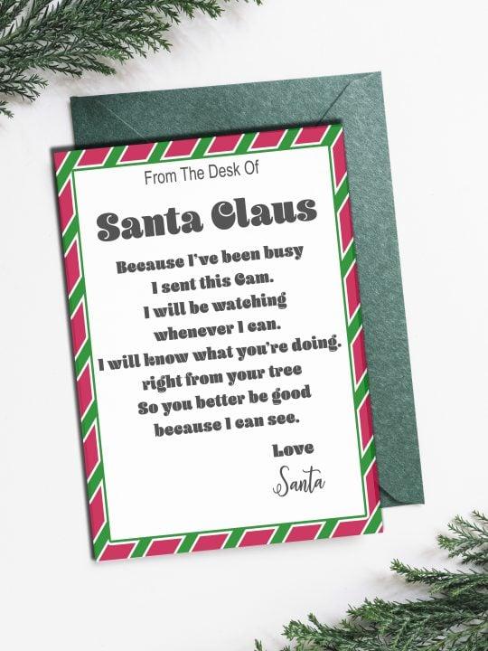 Letter from Santa to accompany Santa spy cam