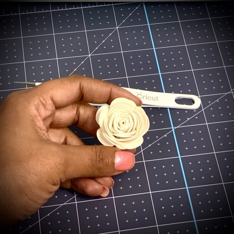crame rose from free paper flower template