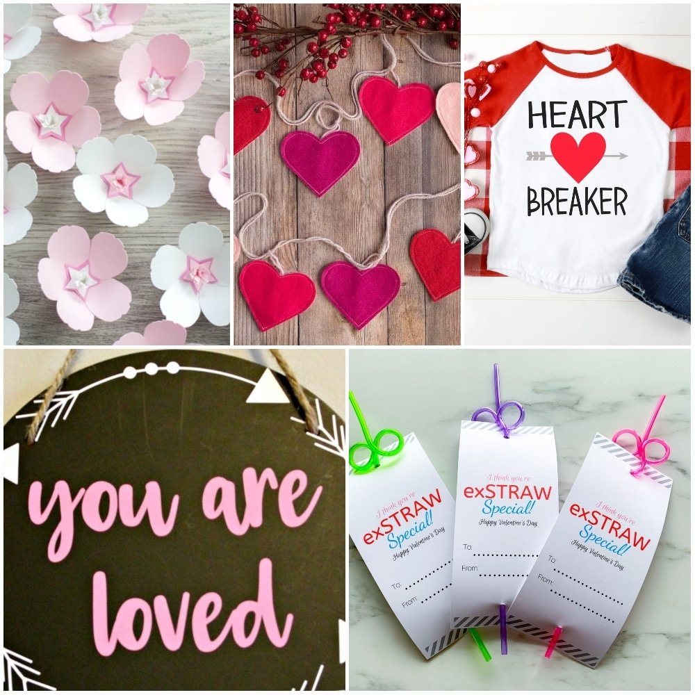 collage of cricut valentines day crafts to sell