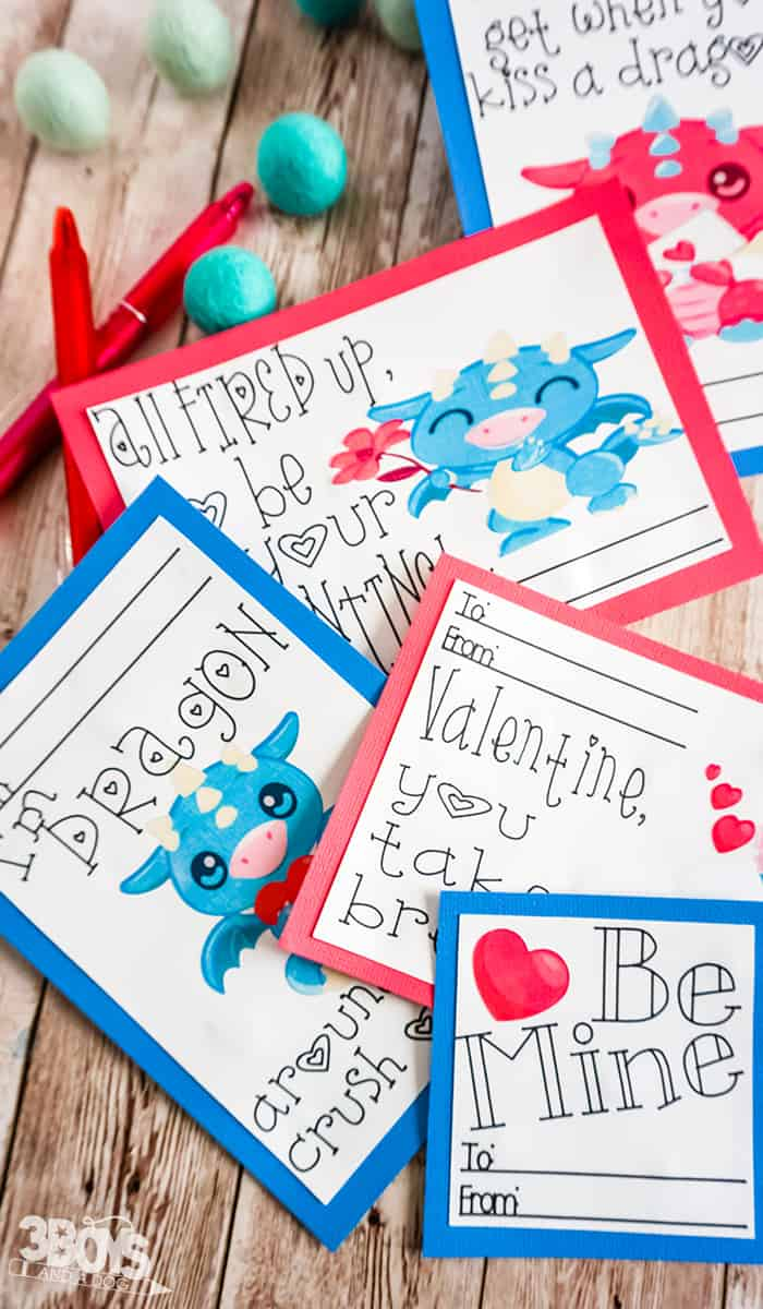 Dragon Valentine Cards Print and Cut Project