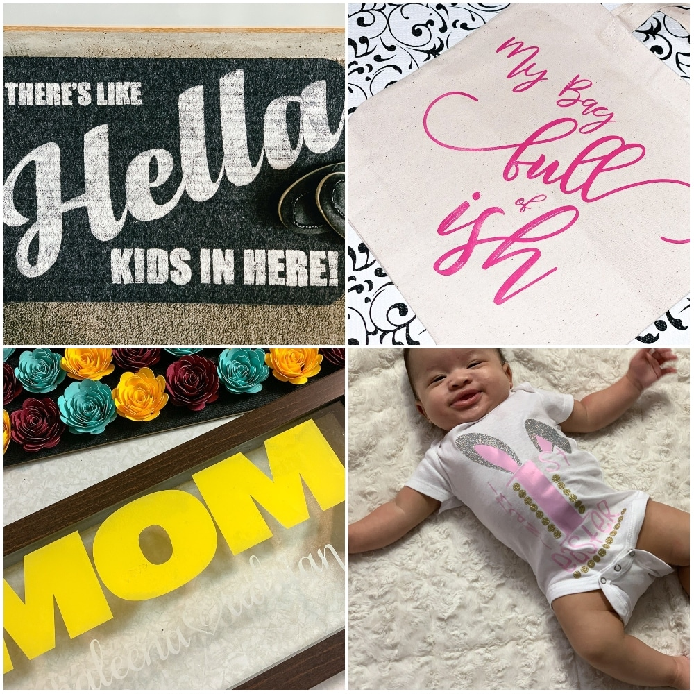"free svg files for cricut including ""there's like hella kids in here!"" welcome mat, ""my bag full of ish"" svg, baby onsie design, and much more"