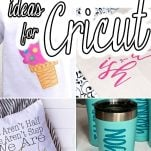 photo collage of cricut vinyl ideas for beginners with text which reads 25+ beginner vinyl ideas for cricut