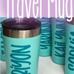 teal blue personalized coffee cups on a white table with text which reads how to personalize a travel mug