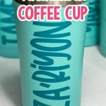 teal blue personalized coffee cups on a white table with text which reads how to make a personalized coffee cup