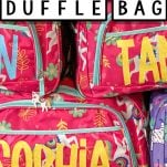 stacked duffle bags with vinyl lettering with text which reads how to make a personalized duffle bag