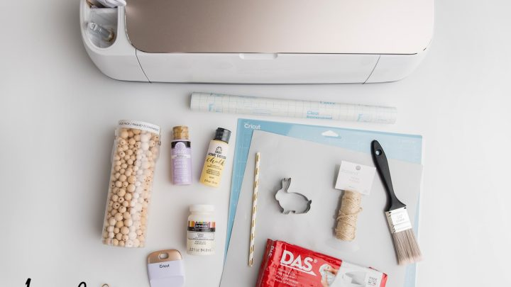 champaign cricut maker with all the supplies to make a personalized easter basket
