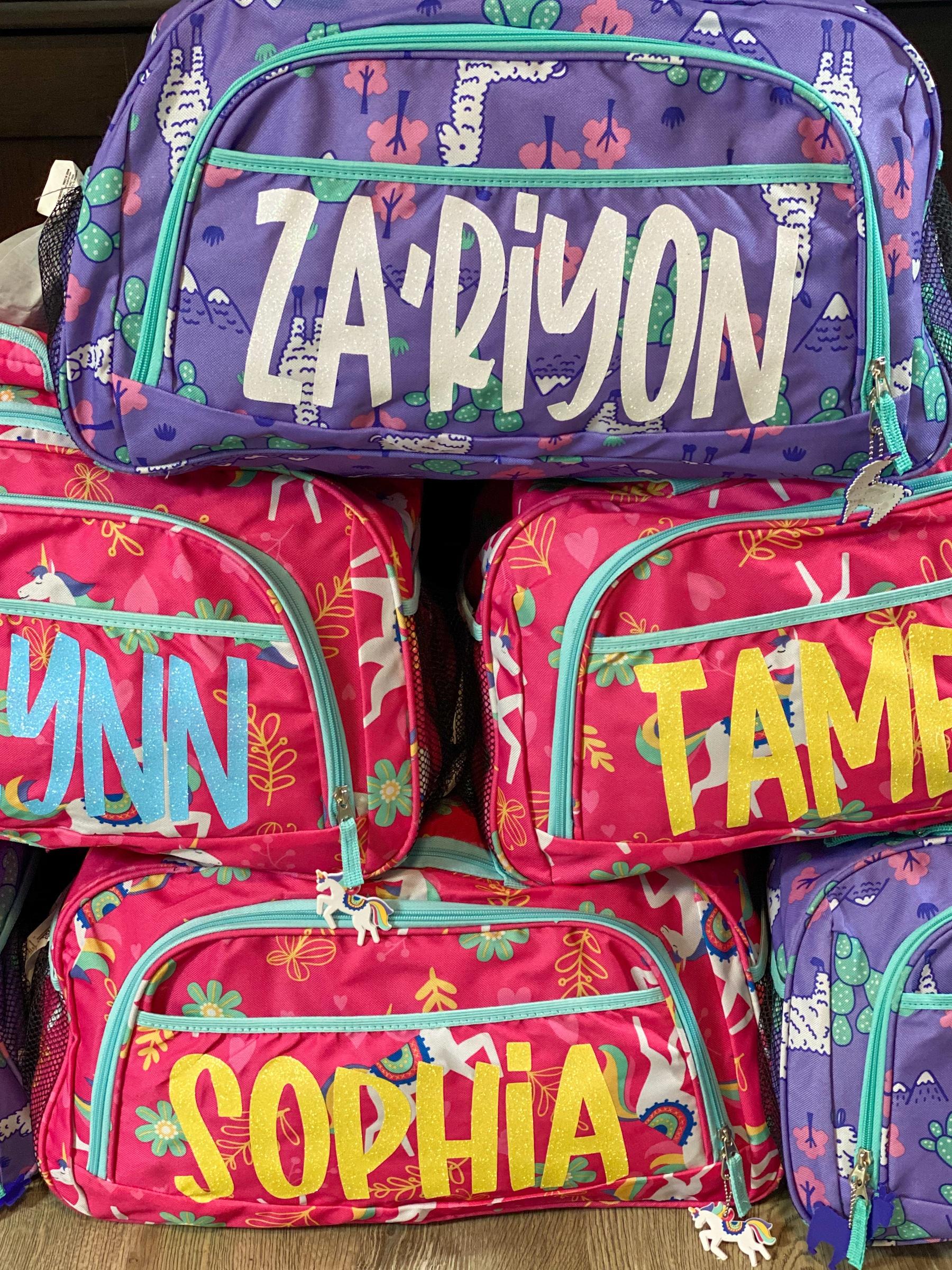 cricut easypress mini, duffel bag project purple and pink