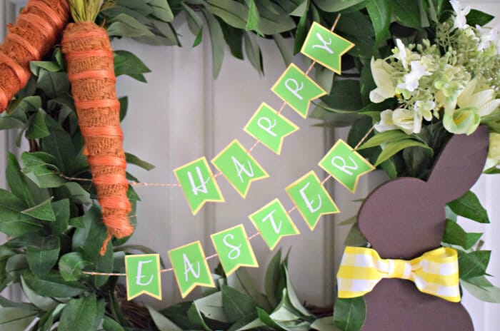 DIY Easter Wreath with Paper Easter Banner