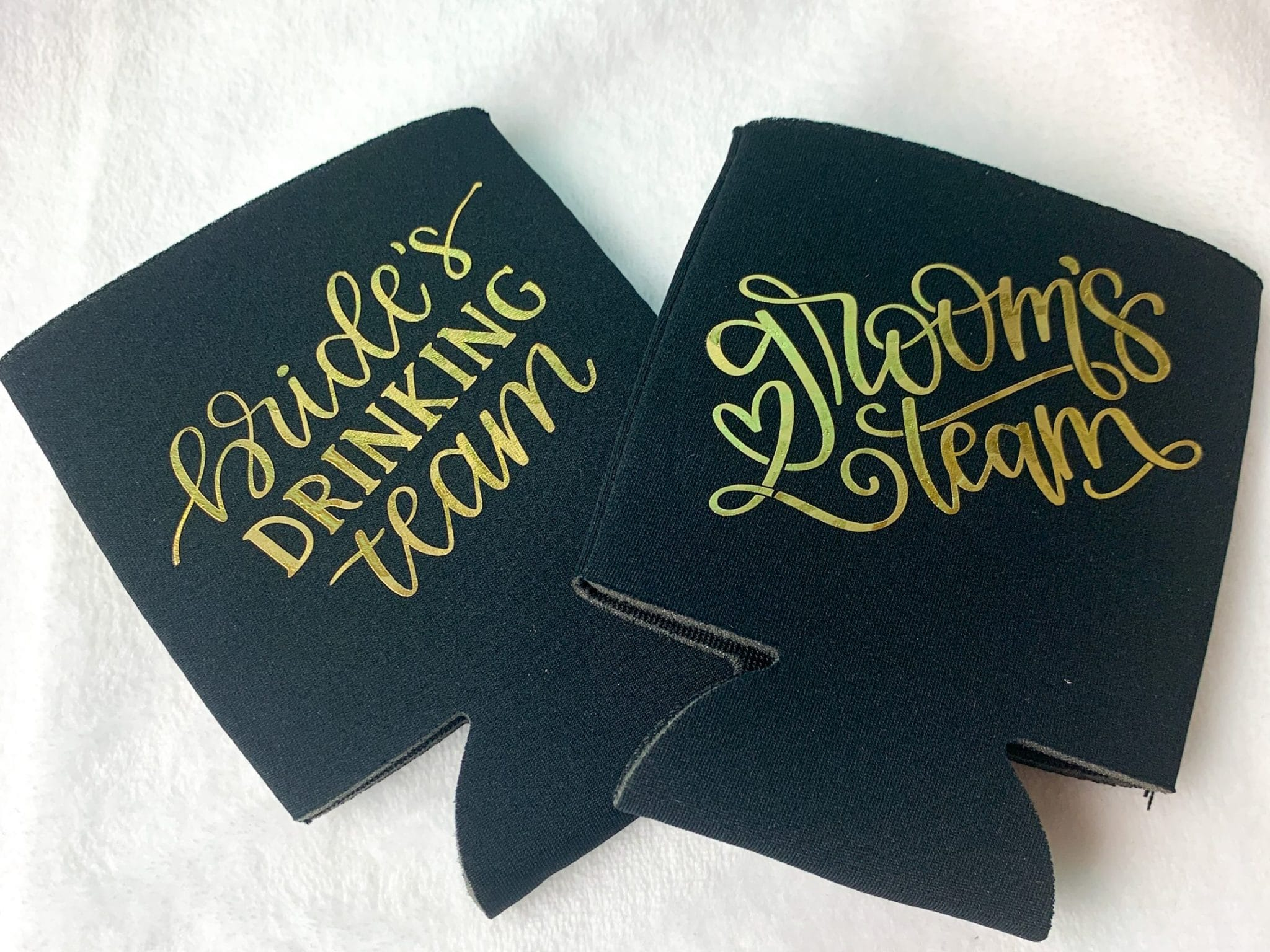 black custom koozie with gold foil heat transfer vinyl