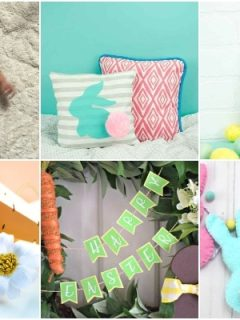 photo collage of cricut easter crafts