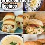 photo collage of easy chicken recipes with bacon and ranch with text which reads 10+ Instant Pot Crack Chicken Recipes