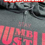 grey hoodie with a zipper with vinyl lettering with text which reads how to put vinyl on a zipper hoodie
