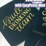 overhead view of black drink koozies with vinyl lettering with text which reads how to personalize a koozie with easypress mini
