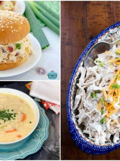 photo collage of crack chicken salad recipes