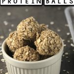 recipe of oatmeal and peanut butter energy balls with text which reads how to make peanut butter protein balls
