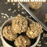 recipe of easy breakfast balls with text which reads peanut butter protein balls