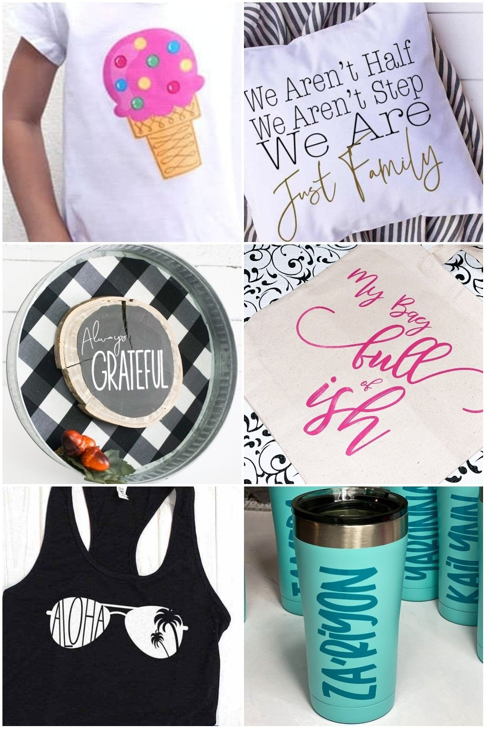 photo collage of beginner cricut vinyl ideas