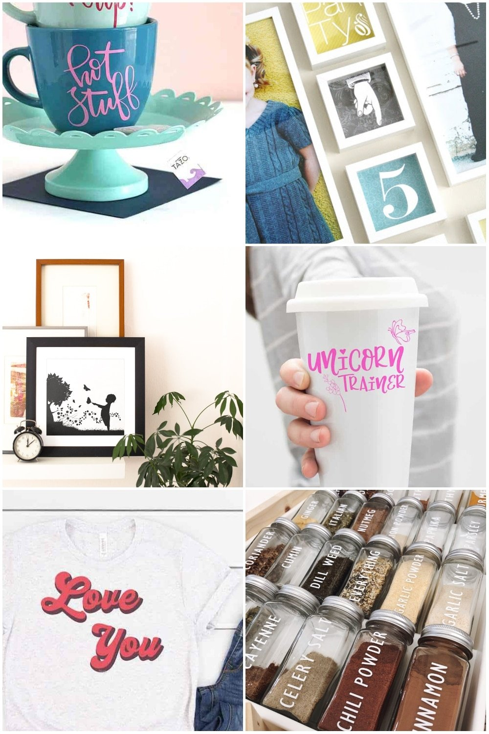 photo collage of beginner vinyl cricut ideas