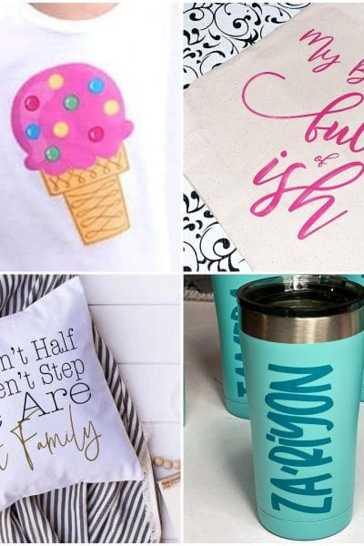 photo collage of vinyl cricut ideas for beginners