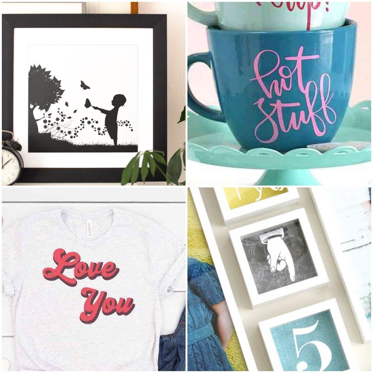 photo collage of cricut vinyl projects for beginners