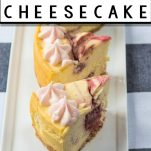 sliced strawberry cheesecake made in the instant pot with text which reads instant pot strawberry cheesecake