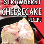 single slice of swirled strawberry cheesecake made in the instant pot with text which reads instant pot strawberry cheesecake recipe