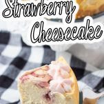 single slice of strawberry cheesecake made in the instant pot with text which reads instant pot strawberry cheesecake