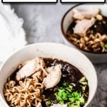 two bowls of homemade ramen soup with text which reads thai chicken ramen soup