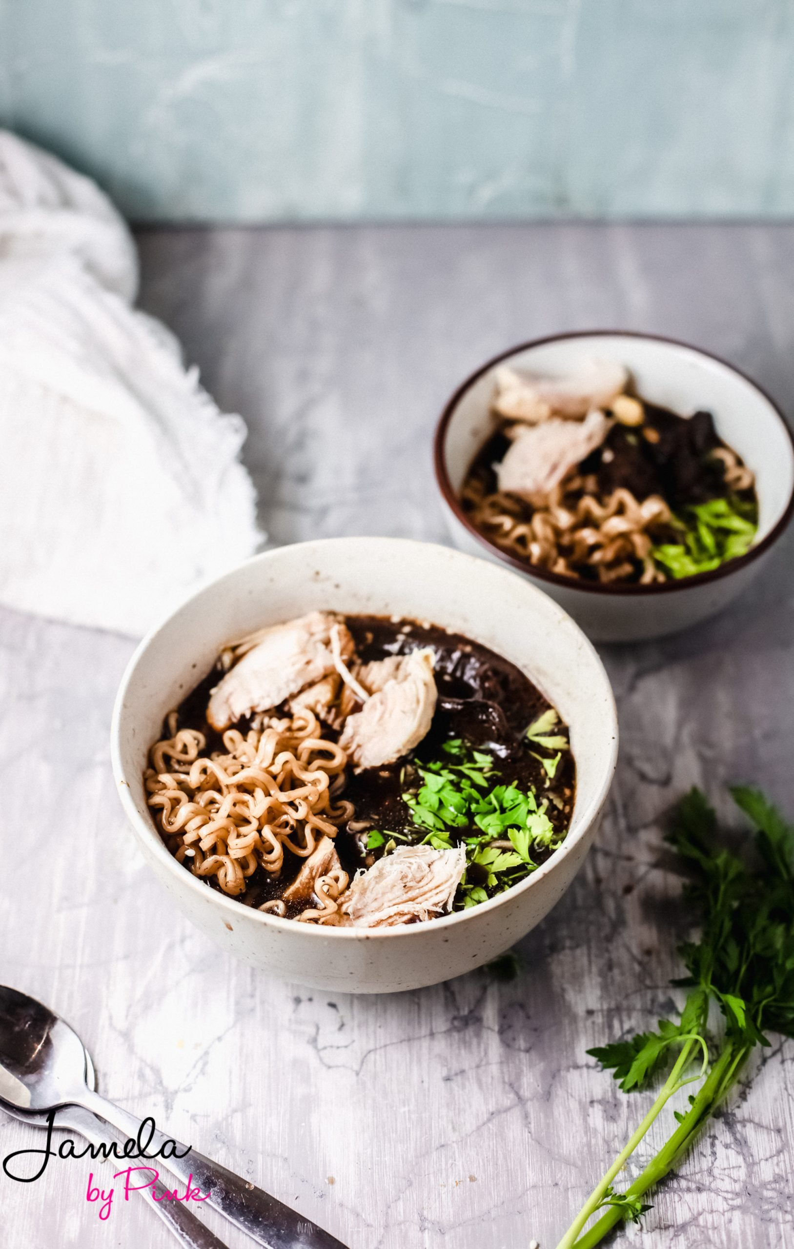 two bowls of easy ramen soup with chicken