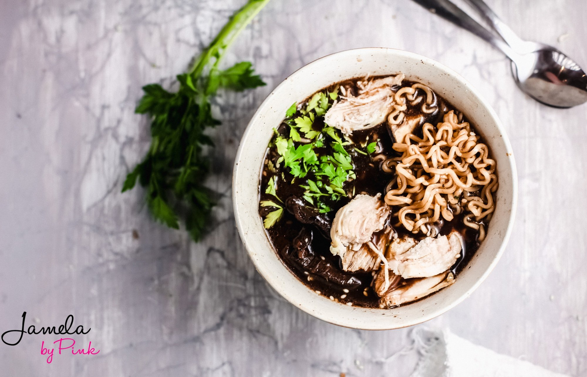 overhead view of easy ramen soup recipe