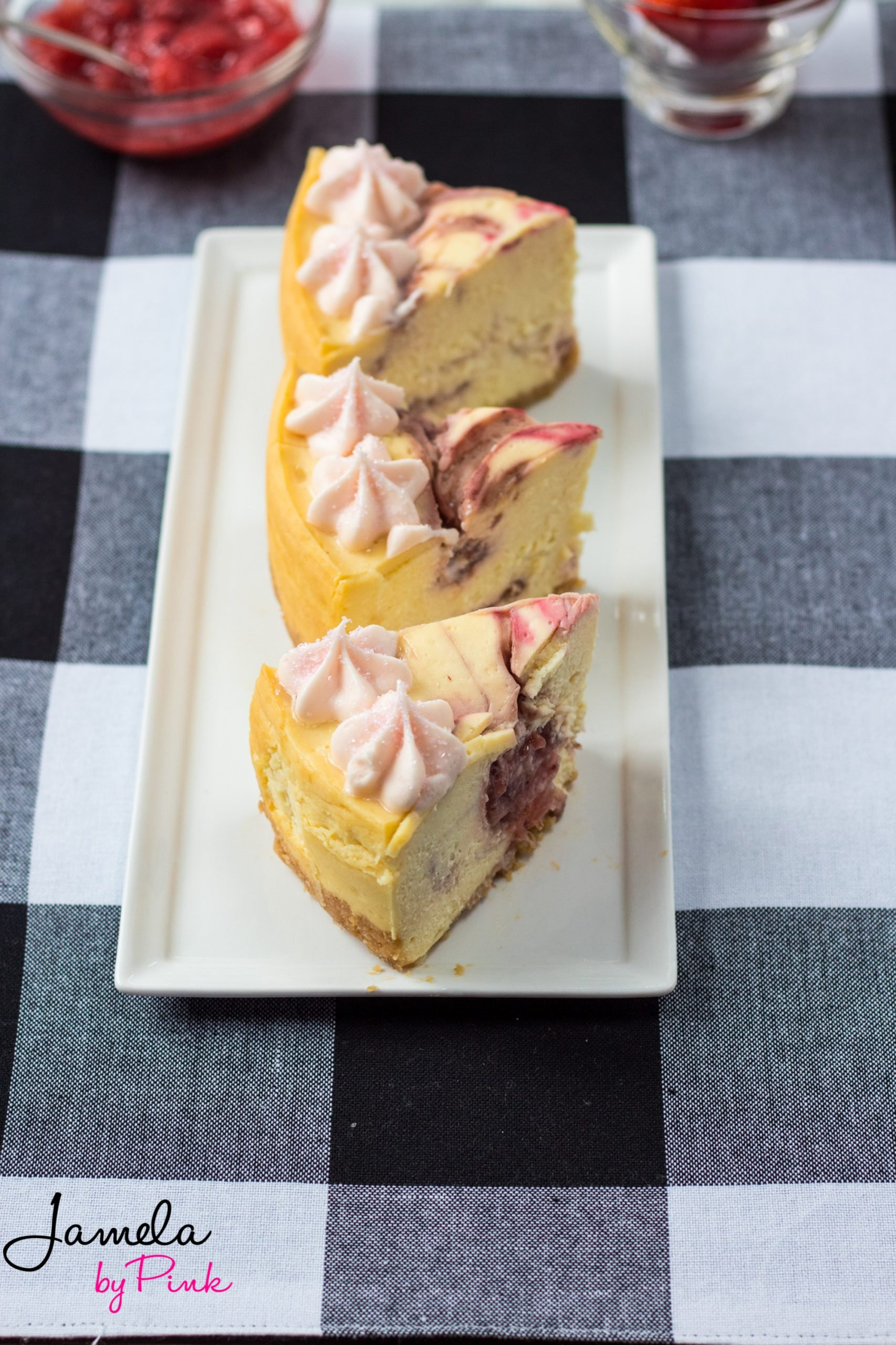 overhead view of slices of strawberry swirl instant pot cheesecake recipe
