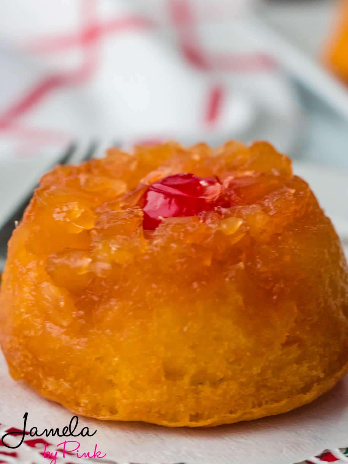 closeup of mini pineapple upside down cake