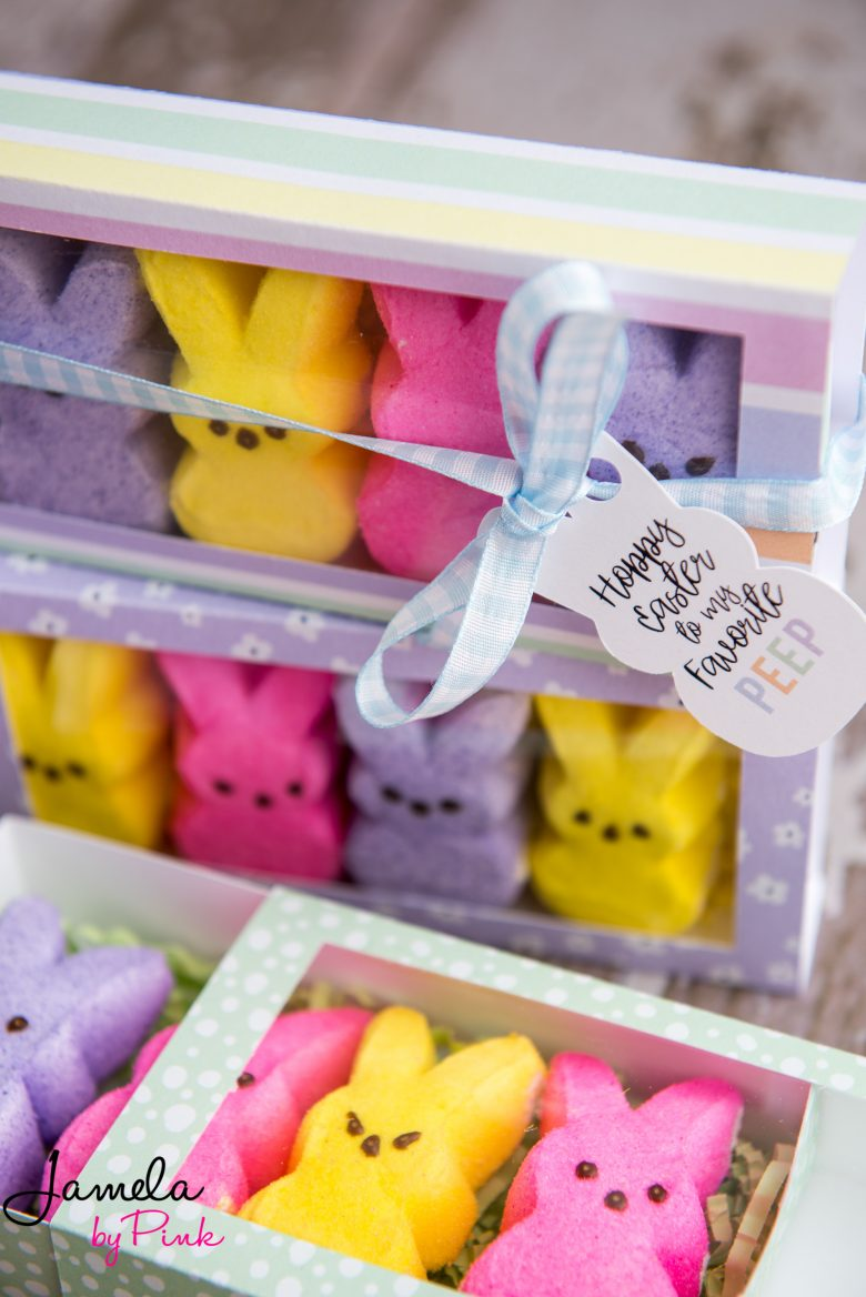 yellow, pink and purple peeps bunny in cricut treat box