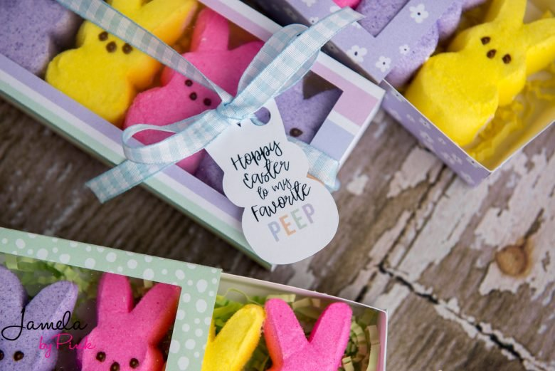 yellow, pink and purple peeps bunny in cricut treat box with peeps shaped print then cut paper tag