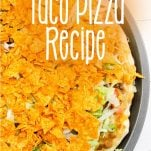 how to make mexican pizza with text which reads taco pizza recipe