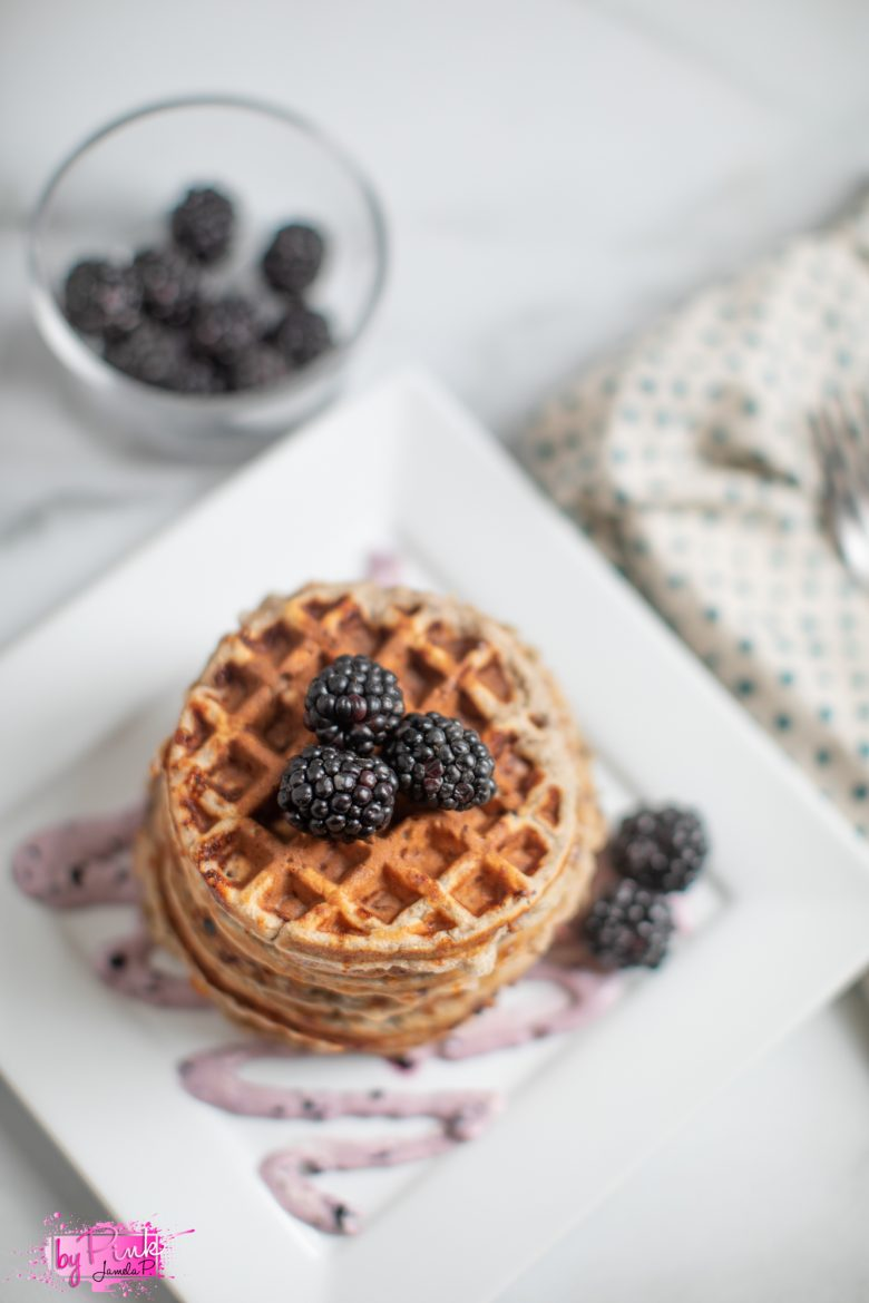 blueberries and cream chaffles on plate