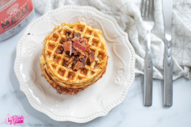 chaffles with bacon bits