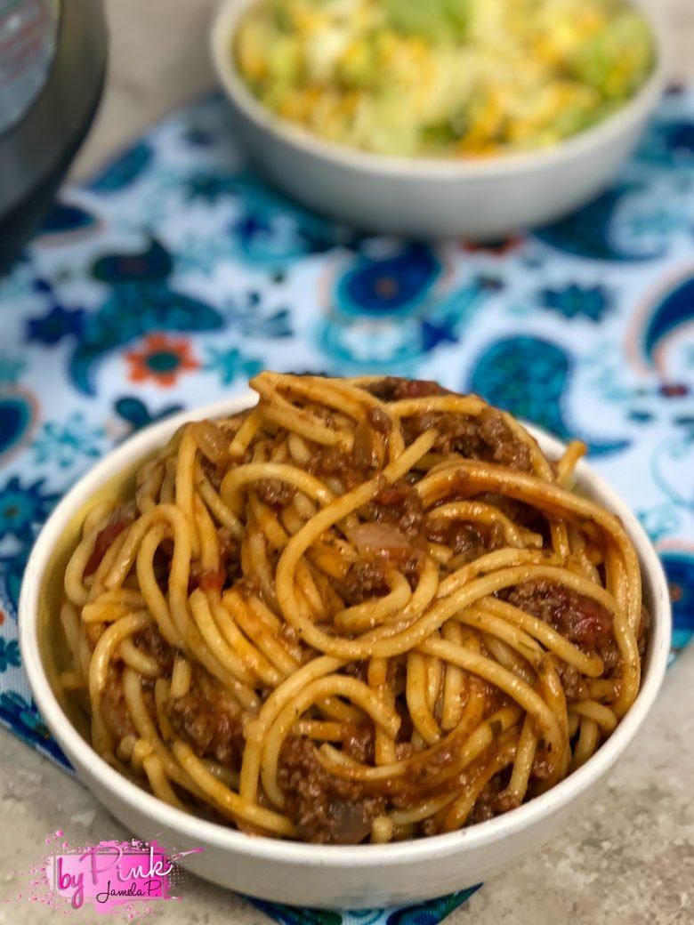 Close up top of easy instant pot spaghetti