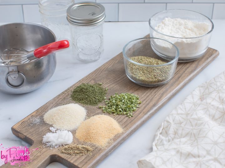 wood cutting board with herbs and spices for hidden valley ranch seasoning recipe