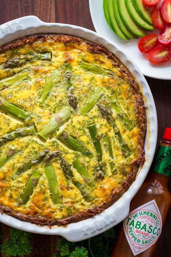 Spicy Sausage Asparagus Quiche