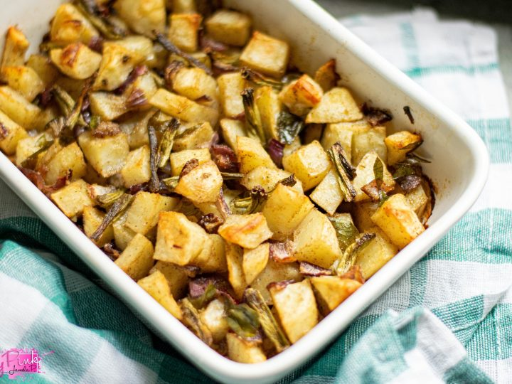 side dish with hash browns and green beans