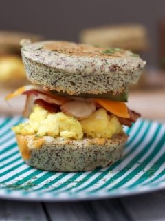 bacon and eggs in sandwich