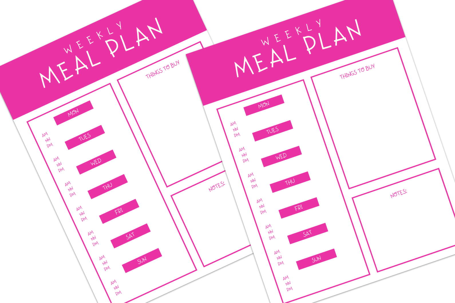 two copies of pink and white themed printable meal planner with three sections: days of the week, things to buy, and notes