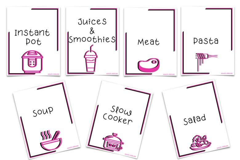seven of the categories that come with the binder including: juices and smoothies, meat, instant pot, pasta, soup, slow cooker, and salad